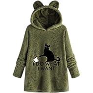 Gopeak Women Warm Sweatshirt, Cartoon Print Cute Pattern Plush Hooded Collar Blouse Pullover Plus Size