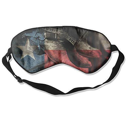 (Longnankejilifeaa Sleep Eyes Mask Covers Rodeo Boots Texas Flag Silk Sleeping Blindfold Fashionable Adjustable Strap Eyeshade for Travelling Shift Work Night Noon Nap Yoga)