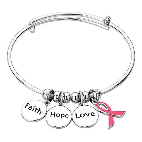 (LovelyCharms Faith Hope Love Pink Ribbon Breast Cancer Awareness Bangle Bracelet for Women )