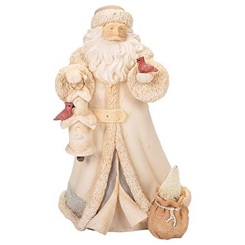 "Enesco Christmas Santa with Bird House Cardinals Stone Resin Figurine 9"" Multicolor"
