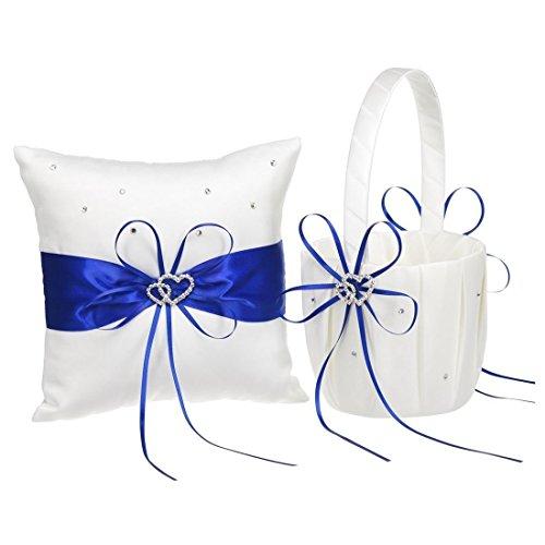 (TOOGOO(R) 2 Heart Rhinestones Ivory Satin Flower Girl Basket And Ring Pillow Set for Wedding Royal Blue)