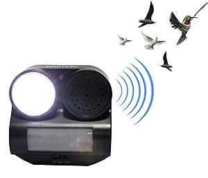 Ahuyentador de aves joyriver de animales ultrasónico con luz estroboscópica LED luz