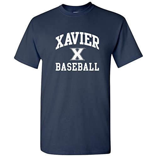 UGP Campus Apparel AS1095 - Xavier Musketeers Arch Logo Baseball T Shirt - Small - Navy