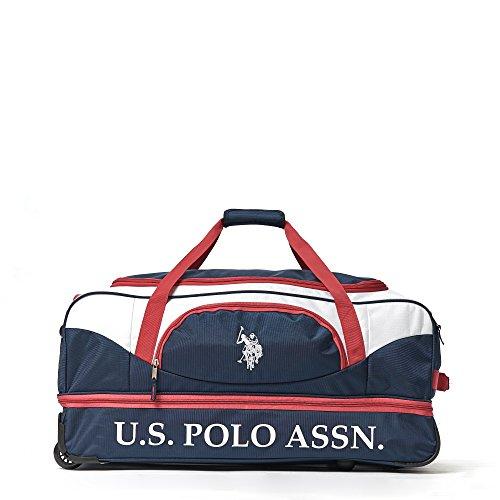 U.S. Polo Assn. Men's 30in Deluxe Rolling Duffle Bag, Retractable Handle, Navy/Red