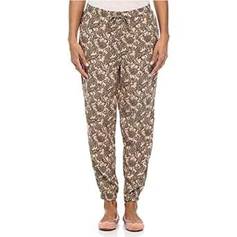 Panko Brown Drawstring Trousers Pant For Women