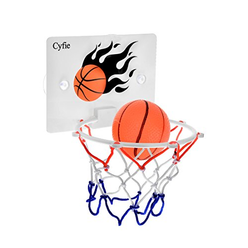 Cyfie Basketball Hoop Toy, Office Desktop Game Bathroom Toilet Slam Dunk Gadget with Pump and 2 Balls for Basketball Lovers Boys Girls Indoor Outdoor
