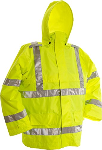Viking Open Road 150D Hi-Vis Waterproof Rain Jacket, Green, Large by Viking