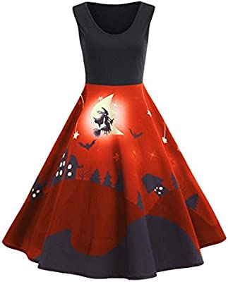 Fancylande Disfraz Vestido Halloween, Retro Halloween Modelo Impresión Grande Vestido sin Mango, Naranja, Medium