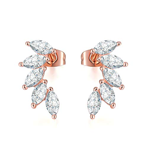 18K Rose Gold White CZ Climber Earrings Angel Wings Cubic Zirconia Ear Cuffs Crawlers Jacket Stud Earrings for Women Mothers Day Gift (rose gold plated)