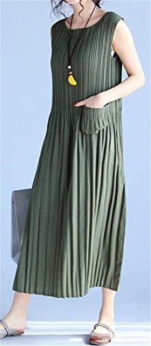Womens Casual Sleeveless Army Pleated Green Swing Dress Tank Cruiize Dress Beach 7SwpqdnS