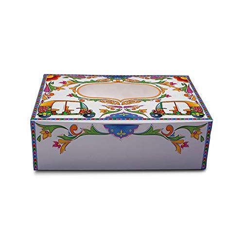 Schmancy Desi Rickshaw Rectangle Gift Box   Cupcake Box for 6 (Size: 23.5x16x7.5 cm) (Pack of 10) (White)