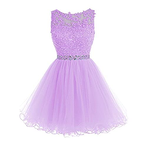 Tideclothes ALAGIRLS Short Beaded Prom Dress Tulle Applique Homecoming Dress Lavender US4