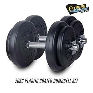 20-KG Dumbbell Set Adjustable Weight Dumbbells Plates Home Gym Strength Bench Press (20)