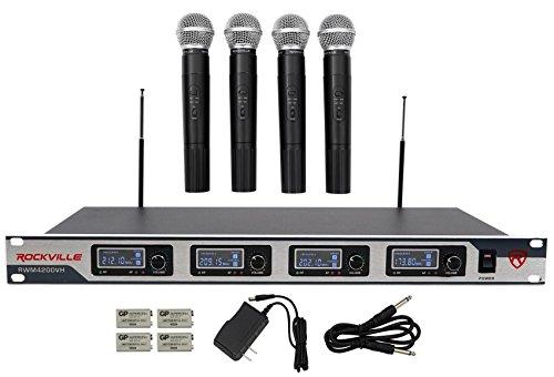 (Rockville RWM4200VH VHF Wireless Quad Handheld Microphone System w LCD Display)