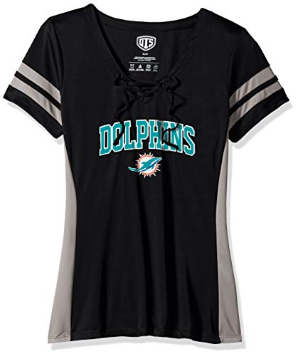 OTS NFL Miami Dolphins Women's Poly Lace Up V-Neck Tee, Weber, Large