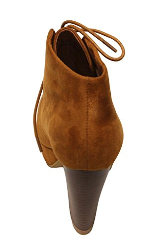 almond heel high platform up lace Women's chunky toe Tan suede Marie Bella booties ankle Goldie 21 qvgBI