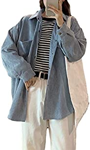 Himosyber Women's Casual Solid Lapel Corduroy Button Pockets Shacket Jacket S
