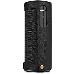 Fintie UE BOOM 2 / UE BOOM Case - PU Leather Carrying Sleeve Cover With Removable Holding Strap + Carabiner Keychain For Logitech Ultimate Ears UE BOOM 1/2 Wireless Bluetooth Speaker, Black