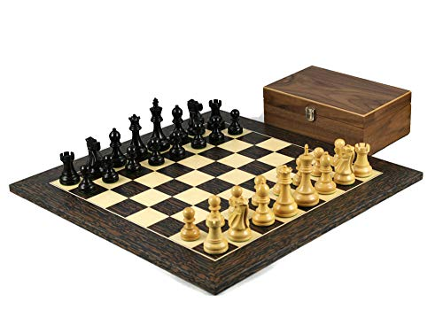 Wooden Chess Set Tiger Ebony Board 20″ Weighted Ebonised Reykjavik Staunton Pieces 3.75″