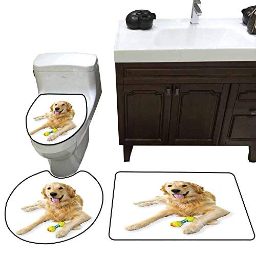 3 Piece Extended Bath mat Set Golden Retriever Pet Dog Laying Down with Toy Friendly Domestic Puppy Playful Companion Increase Multicolor