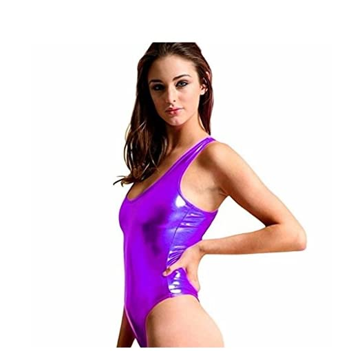 Iffee Womens Shiny Metallic Sleeveless Leotard Bodysuit Dance Top Dancewear