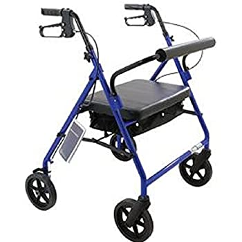"Bariatric Rollator Walker Heavy Duty with Large Padded Seat up to 400 Lb Capacity With 8"" wheels (Blue)"