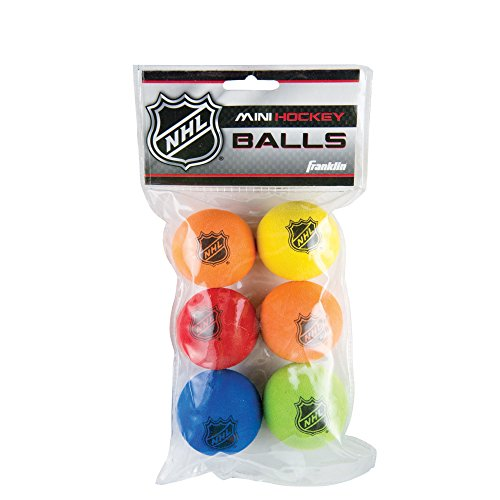 Foam Mini Hockey Balls, Assorted Colors, 6 Count (Franklin Hockey Equipment)