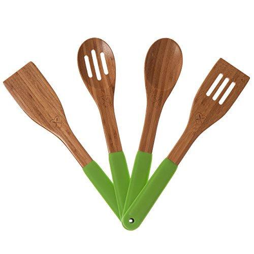 NEW Product -The Kitchen Love Wooden Bamboo Utensils Set With Wooden Serving Cooking Spoons and Spatula with Storage Holes and Silicone Handles with Free Cheesecloth (Green) ()
