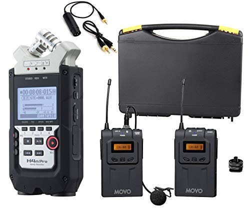 (Zoom H4n PRO 4-Channel Handy Recorder Bundle with Movo UHF Wireless Lavalier Microphone System )