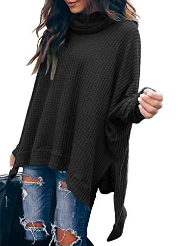 Women Turtlenck Batwing Sleeve High Low Hem Side Slit Waffle Knit Casual Loose Oversized Pullover Sweater Tunic Tops CYJ19-C8A3-heise-M Black