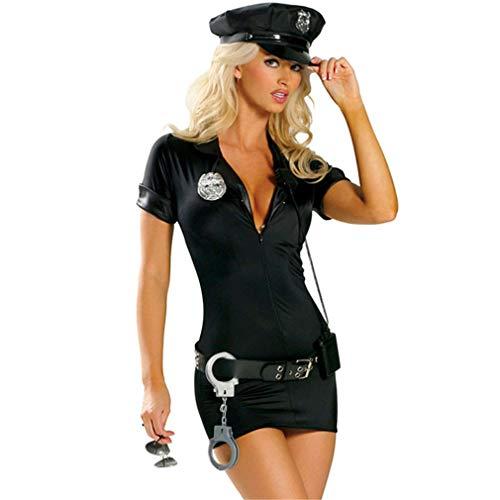 S-XXL Woman Sexy Police Costume Adult Cop Uniform Halloween Policewoman Cosplay Fancy Dress Black XXL ()