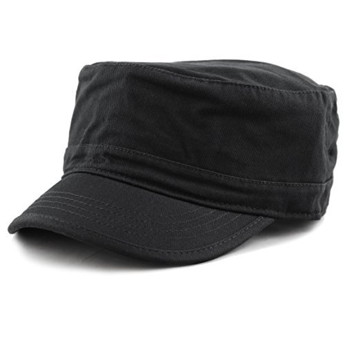 THE HAT DEPOT Cadet Army Washed Cotton Basic Cap Military Style Hat (Black)