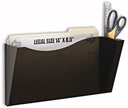 Displays2go Set of 2 - Wall Mount File Folder Rack Holder, Legal/Letter, Hardware Included (Black Acrylic)(4LTPCKSM)