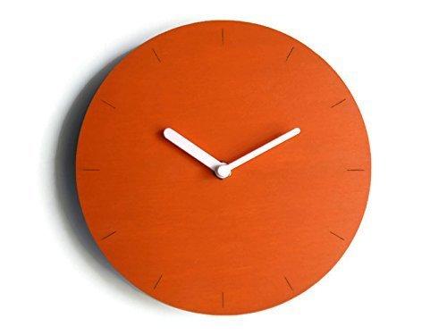 28cm Kleine h/ölzerne ruhige wanduhr ohne tickger/äusche in vielen farben wie tukan orange Keine tickenden wanduhren Modernes design winzige leise uhr f/ür foyer Moderne uhren kein ticken