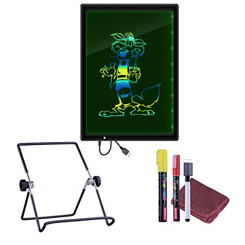 LED Message Board, SAWAKE 2-in-1 Illuminating Writing Board + White Drawing Painting Tablet with Bracket Stand for Party Wedding Holiday Promotions,13.6 '' Screen,Mutilple Color, Erasable,USB Powered (Write Board Lightweight Combination)
