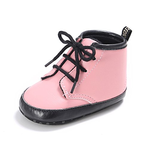 LUWU Baby Boy Girls Martin PU Leather Soft Sole Toddler Warm Shoes (0-6Months 4.3