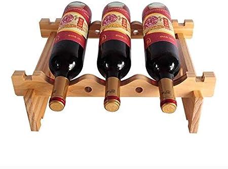 HJXSXHZ366 Estantería de Vino Apilable botellero botellero - Estante de Almacenamiento de Madera Casa - Bar/Home, Botellas de 8 Estante de Vino pequeño (Size : 3bottle)