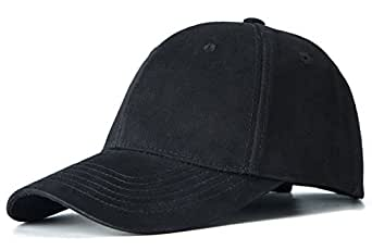 Edoneery Men Women Cotton Adjustable Twill Low Profile Plain Baseball Cap Hat(Black)