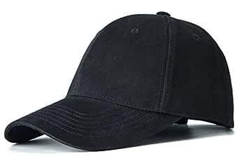 Edoneery Men Women Cotton Adjustable Twill Low Profile Plain Baseball Cap Hat(Black)