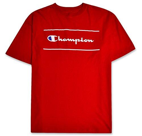 - Champion Mens Big & Tall Short Sleeve Printed Framed Script Logo Tee Brite RED XLT