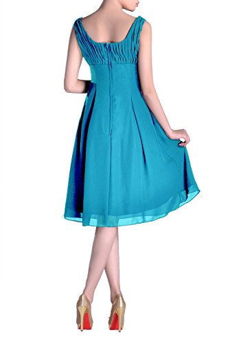 Formal Cyan Length the of Mother Pleated Dress Knee Occasion Bridesmaid Brides Special qwZaPCtHt