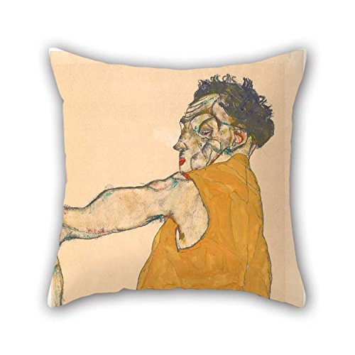 Oil Painting Egon Schiele - Self-Portrait in Yellow Vest, 1914 Pillow Covers 16 X 16 Inches / 40 by 40 cm Gift Or Decor for Play Room Deck Chair Car Seat Couch Wife Sofa - Two Sides -