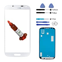 (md0410) White Front Outer Lens Glass Screen Replacement For Samsung Galaxy S4 SIV i9500 + Adhesive + Tools + 5ml UV LOCA Liquid Glue