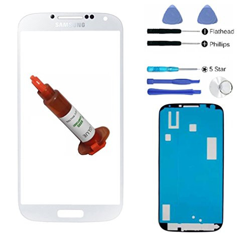 White Front Outer Lens Glass Screen Replacement For Samsung Galaxy S4 SIV i9500 + Adhesive + Tools + 5ml UV LOCA Liquid Glue (Tmobile Galaxy S4 Lcd Replacement)