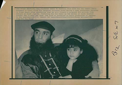 Vintage photo of Saudi Arabia: Sheik Mohammed Al-Fassi and daughter Princess Aisha. ()