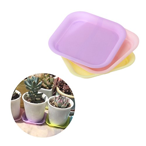 LANDUM Plastic Plant Flower Pot Saucer Square Base Water Planter Tray Garden Tools Color Random by LANDUM (Image #1)