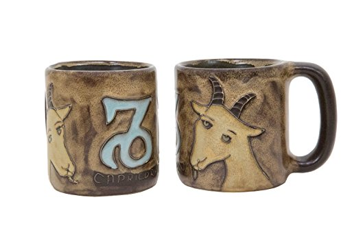 One (1) MARA STONEWARE COLLECTION - 16 Oz COFFEE Cup Collectible Mug - Zodiac Sign - Capricorn The Sea Goat Design