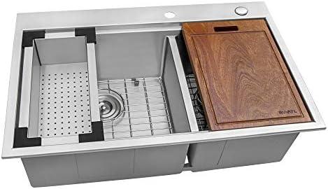 Ruvati 33 x 22 inch Workstation Drop-in 60 40 Double Bowl Topmount Tight Radius 16 Gauge Stainless Steel Ledge Kitchen Sink – RVH8035