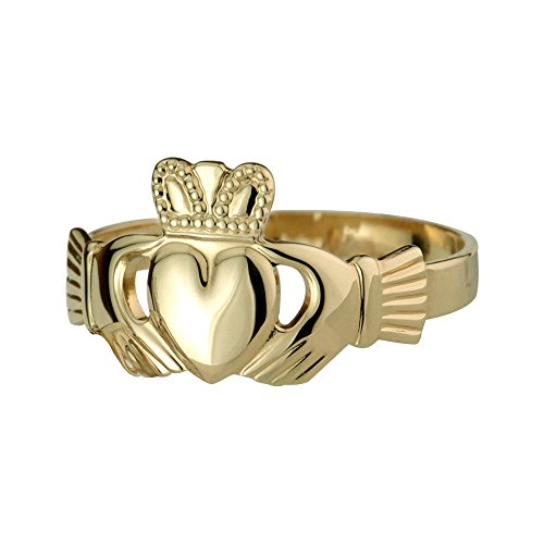 Gold Claddagh Ring from Ireland 10K Contour Band-Size 5.5