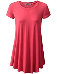 URBANCLEO Womens V-Neck eLong Tunic Top Mini T-shirt...